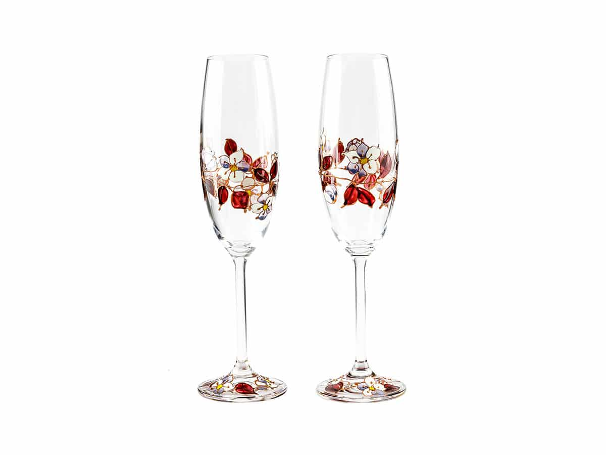 Pahare nunta cu trandafiri agatatori
