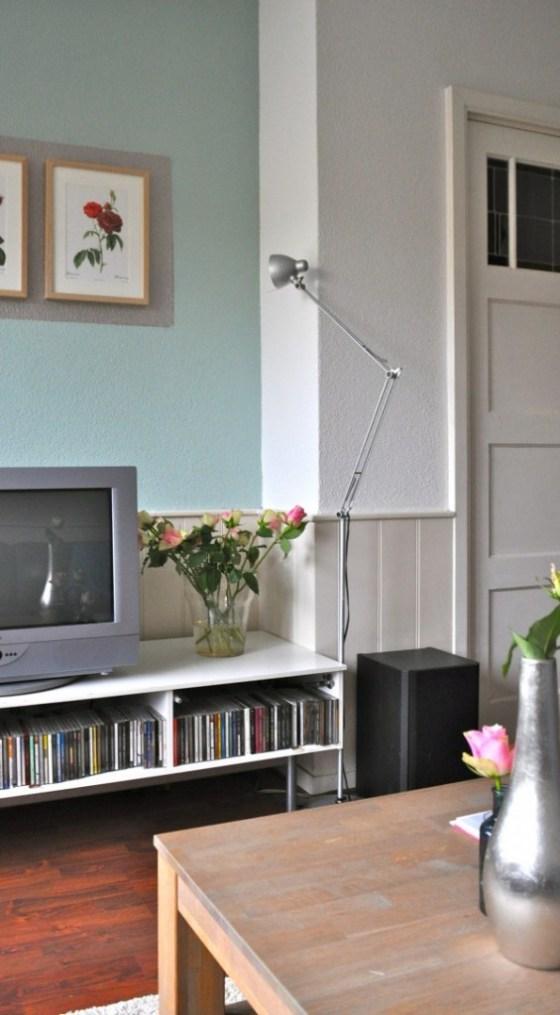 TV Hoek met vintage rozen illustraties na STIJLIDEE Interieuradvies en Styling
