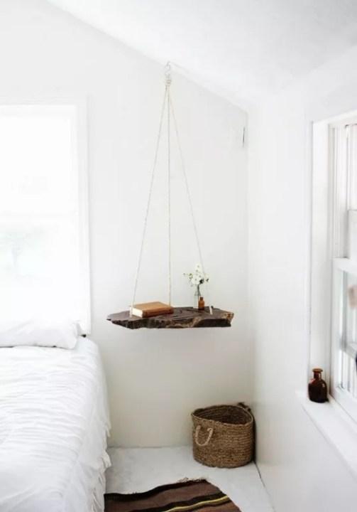 Slaapkamer inrichten met schommel nachtkastje, Interieur inspiratie -Schommel als nachtkastje en hangende tafel