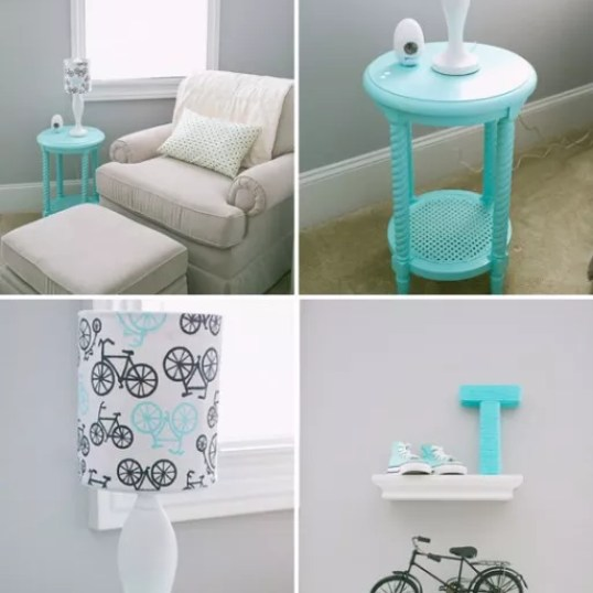 Interieur & kids | Babykamer in Turquoise en licht grijs - www.stijlvolstyling.com