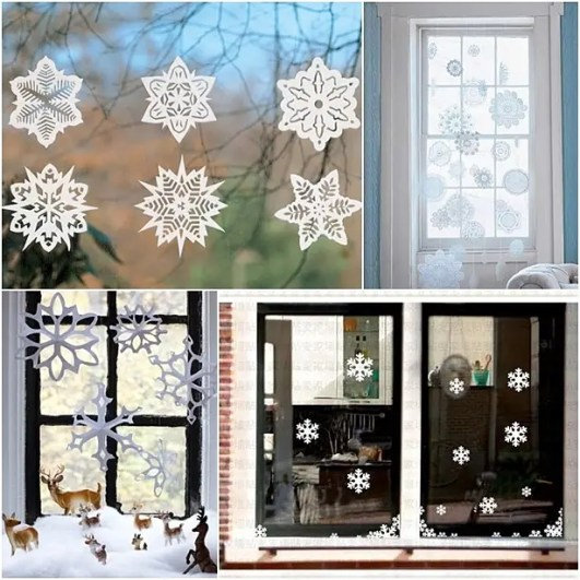 Decorations Inspiration. Comely Christmas Window Decor Designs Creativity: Goodly Christmas Snowflakes Patterns For Door And Window Decoration