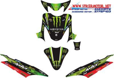 striping motor yamaha mio sporty monster energy