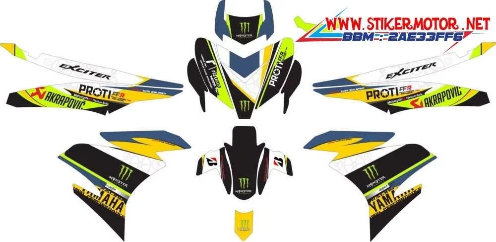 93+ [ Striker Motor Motif Monster ] - Stiker Motor Yamaha New Jupiter Mx Motif King, Sticker ...