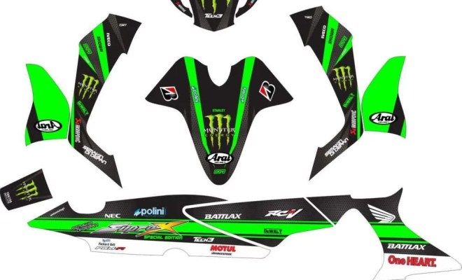 Stiker Motor supra x 125 monster energy tech 3