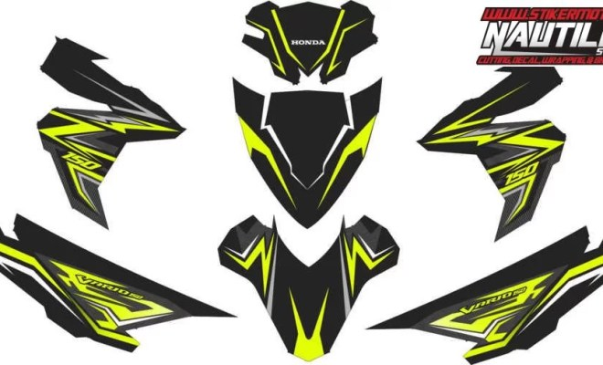 stiker motor vario esp 150 black green lemon