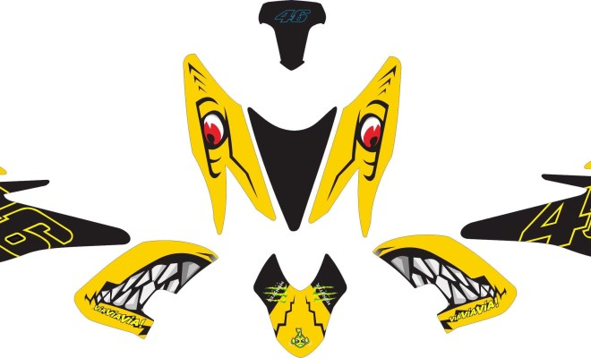 Stiker aerox 155 shark yellow