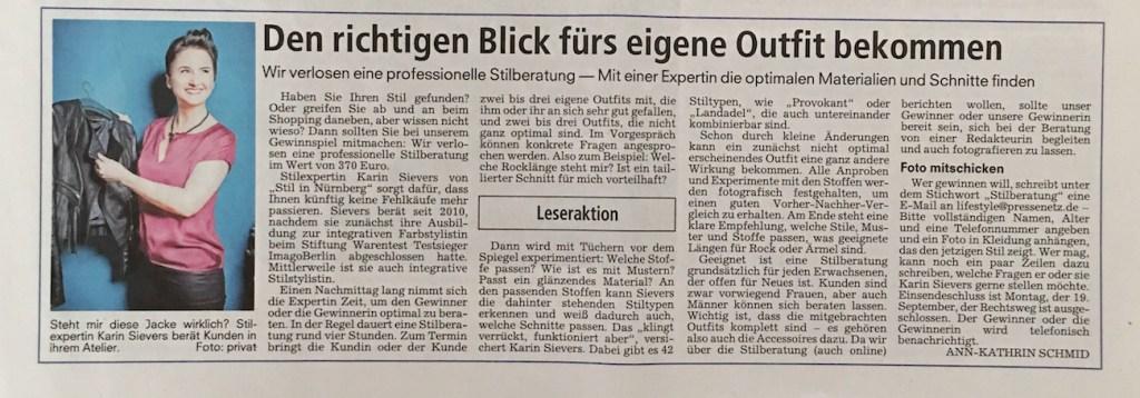 Gewinnspiel Nürnberger Nachrichten mit Stilexpertin Karin Sievers