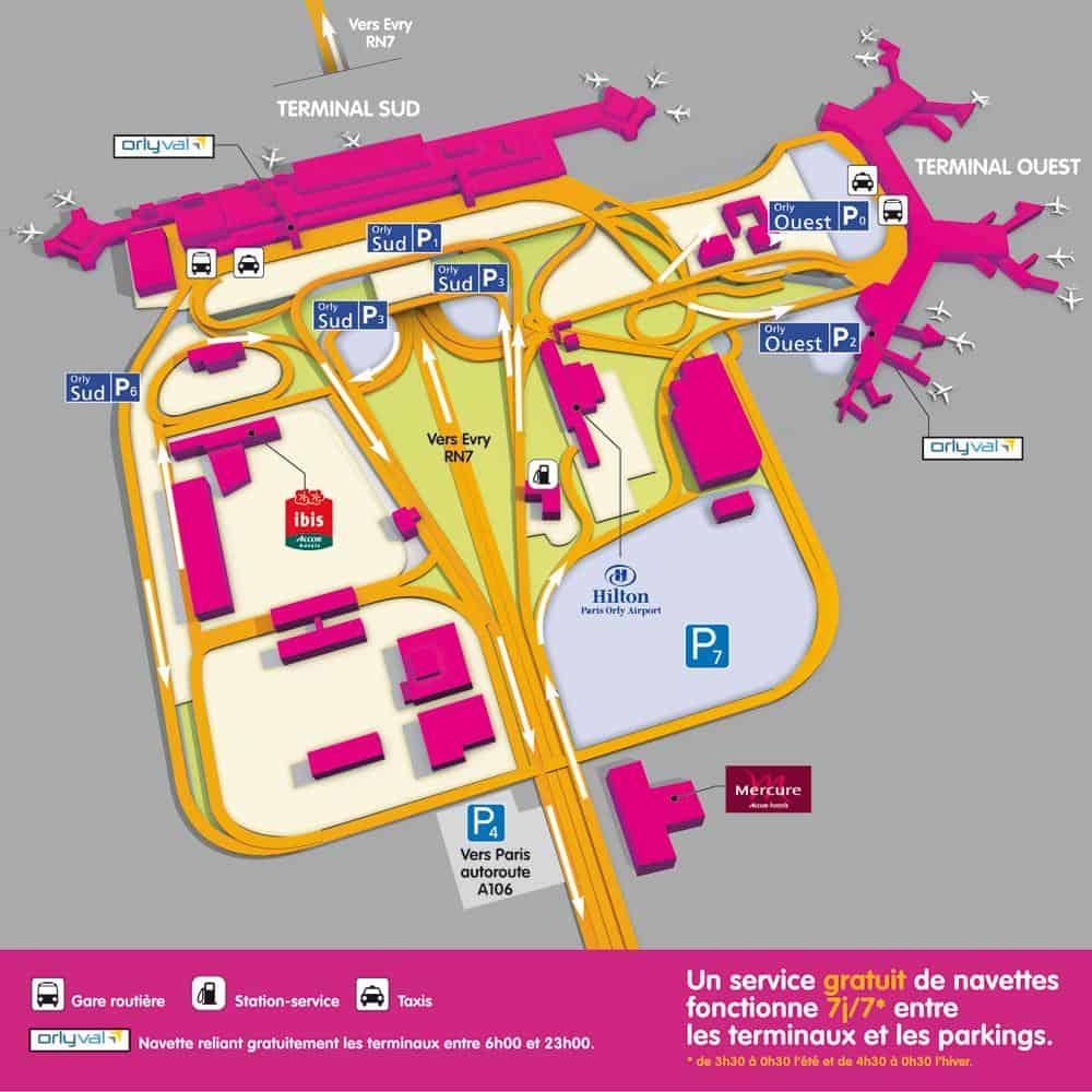 Mapa del aeropuerto de París-Orly