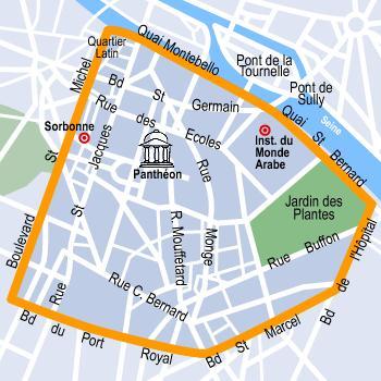 Latin Viertel Karte - Paris