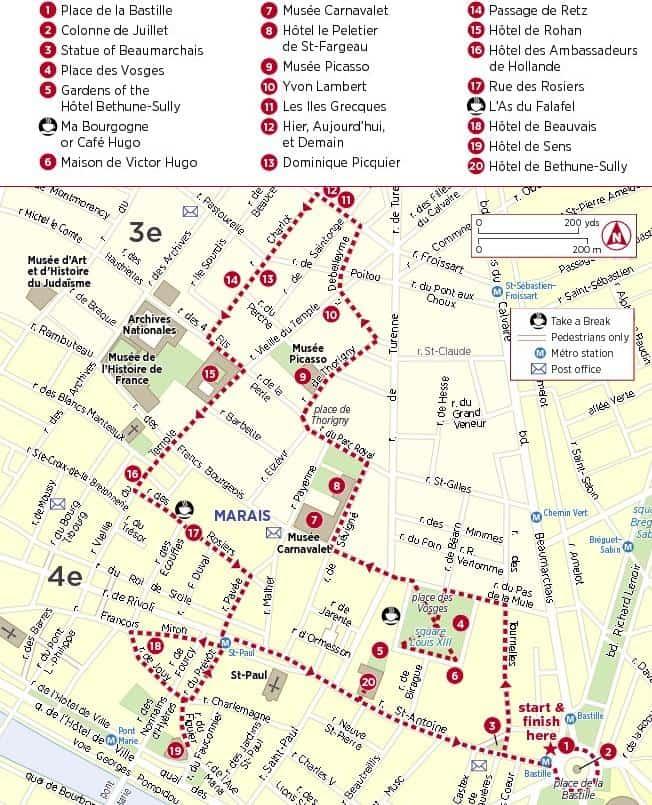 Mapa de atracciones en Marais, París