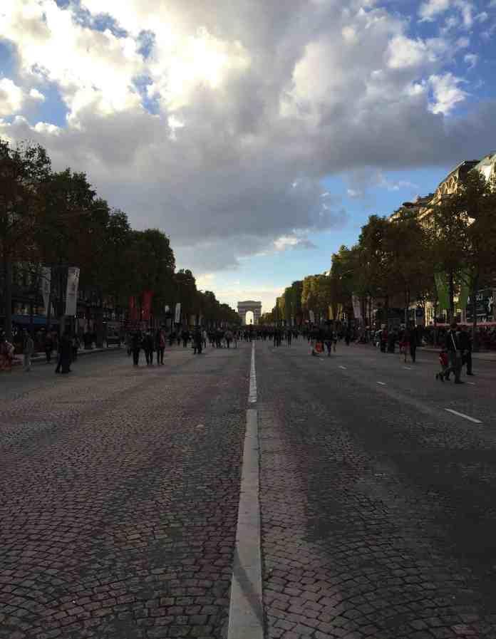 Arc de Triomphe in Paris from Champs Elysées