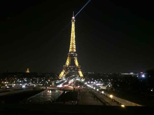Eiffel Tower by night in Paris