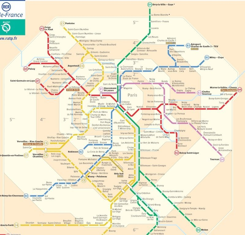 Paris Metro Zonen