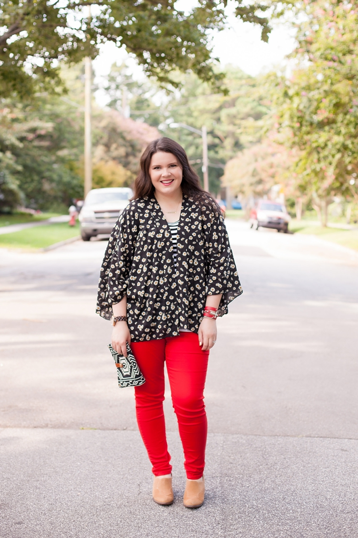 Red jeans from Stitch Fix, Daisy floral kimono from Stitch Fix, black and white striped tee (1)