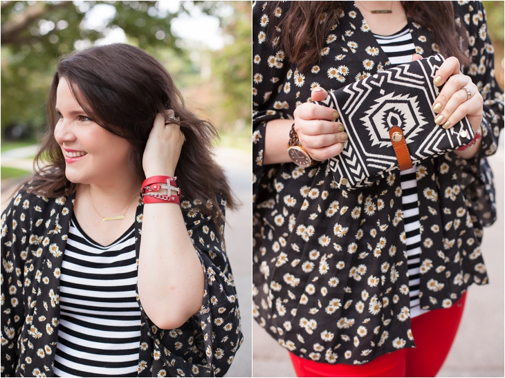 Red jeans from Stitch Fix, Daisy floral kimono from Stitch Fix, black and white striped tee (3)