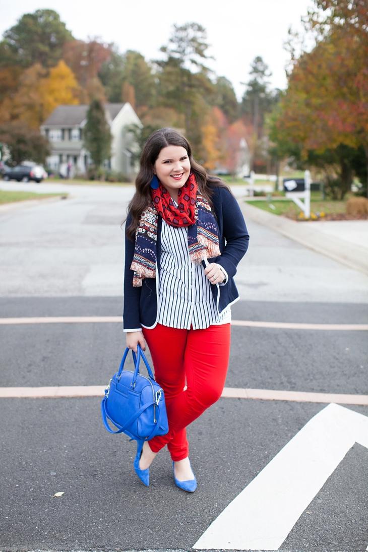 Belk Schoolboy Blazer, Red Jeans, Cobalt Heels | Preppy Fall Fashion (4)