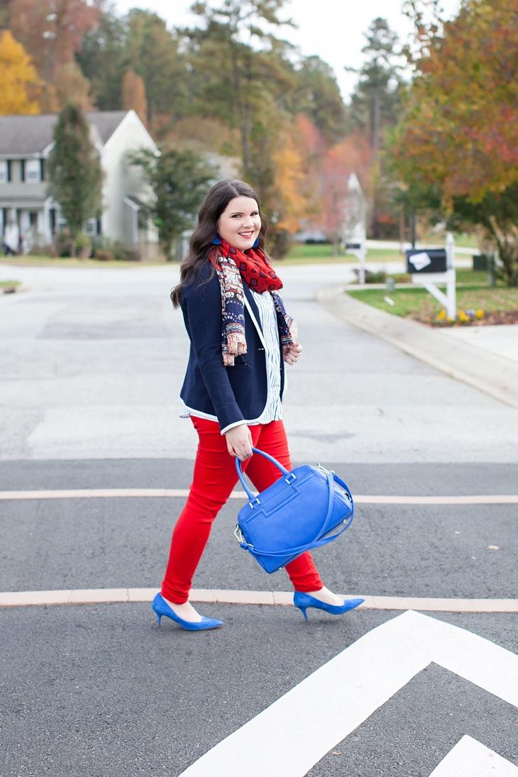 Belk Schoolboy Blazer, Red Jeans, Cobalt Heels | Preppy Fall Fashion (7)