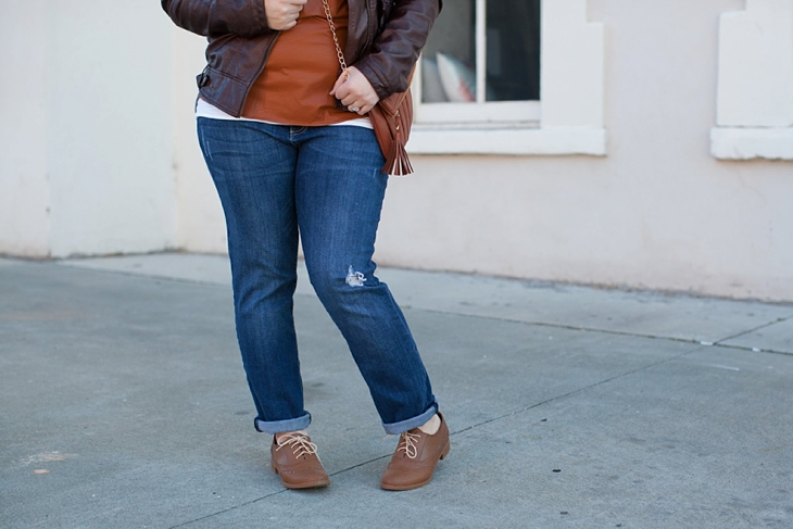 Winter / Fall style | Kut from the Kloth boyfriend jeans, leather moto jacket, leather top, blanket scarf, loafers | North Carolina Fashion Blogger (3)