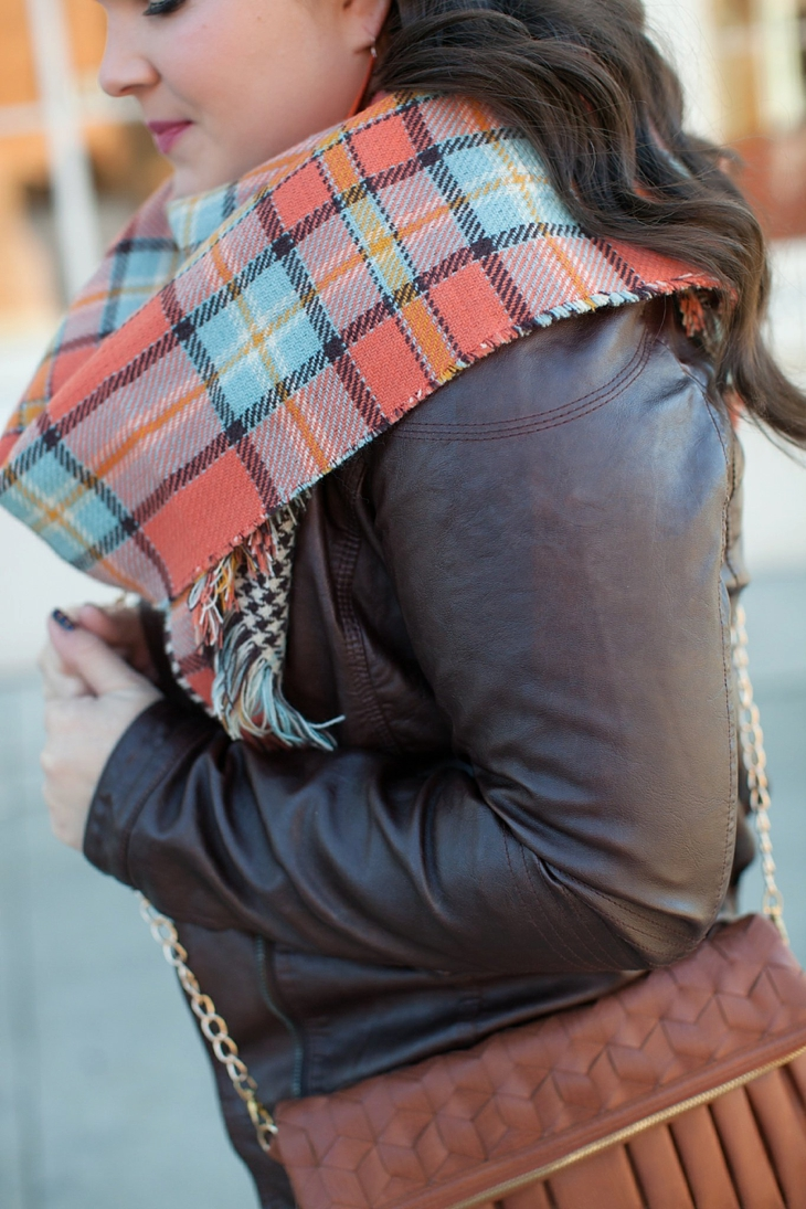 Winter / Fall style | Kut from the Kloth boyfriend jeans, leather moto jacket, leather top, blanket scarf, loafers | North Carolina Fashion Blogger (6)