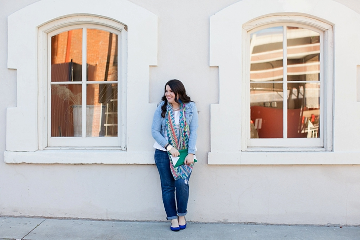 Winter / Fall style | denim jacket, skinny jeans, aztec scarf, Root Collective clutch and ballet flats, Root Collective necklace, white peplum top | North Carolina Fashion Blogger (2)