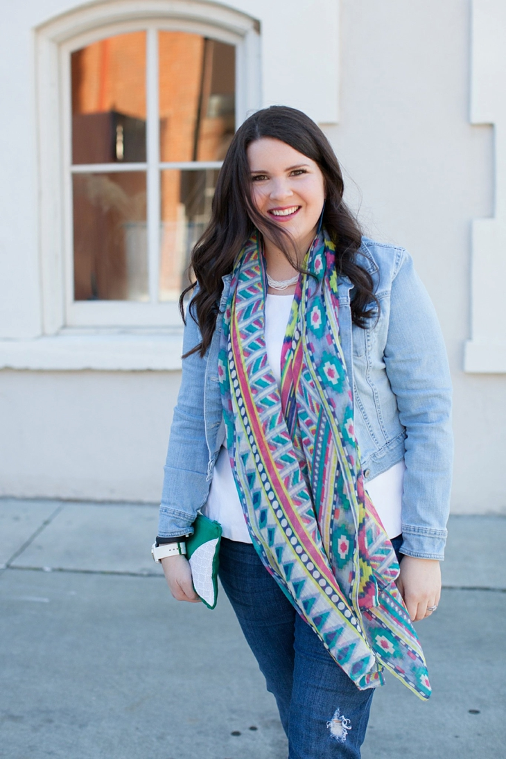 Winter / Fall style | denim jacket, skinny jeans, aztec scarf, Root Collective clutch and ballet flats, Root Collective necklace, white peplum top | North Carolina Fashion Blogger (5)
