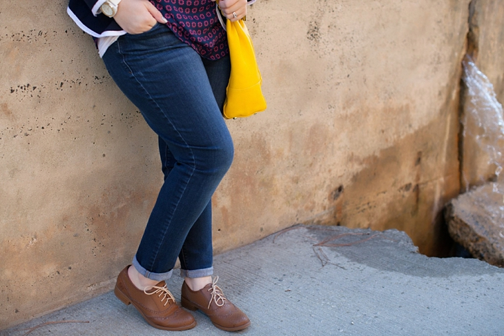 Winter / Fall style | schoolboy blazer, loafers, patterned top, yellow bag| North Carolina Fashion Blogger (2)