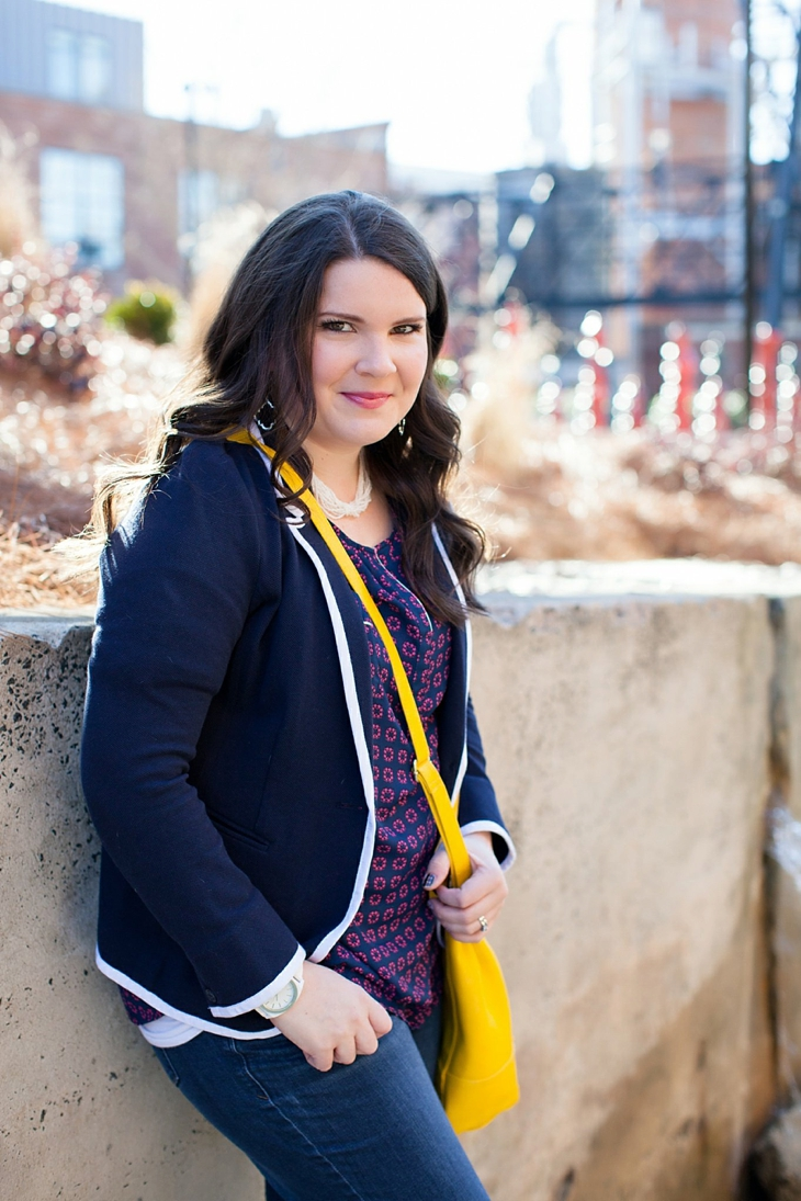 Winter / Fall style | schoolboy blazer, loafers, patterned top, yellow bag| North Carolina Fashion Blogger (3)