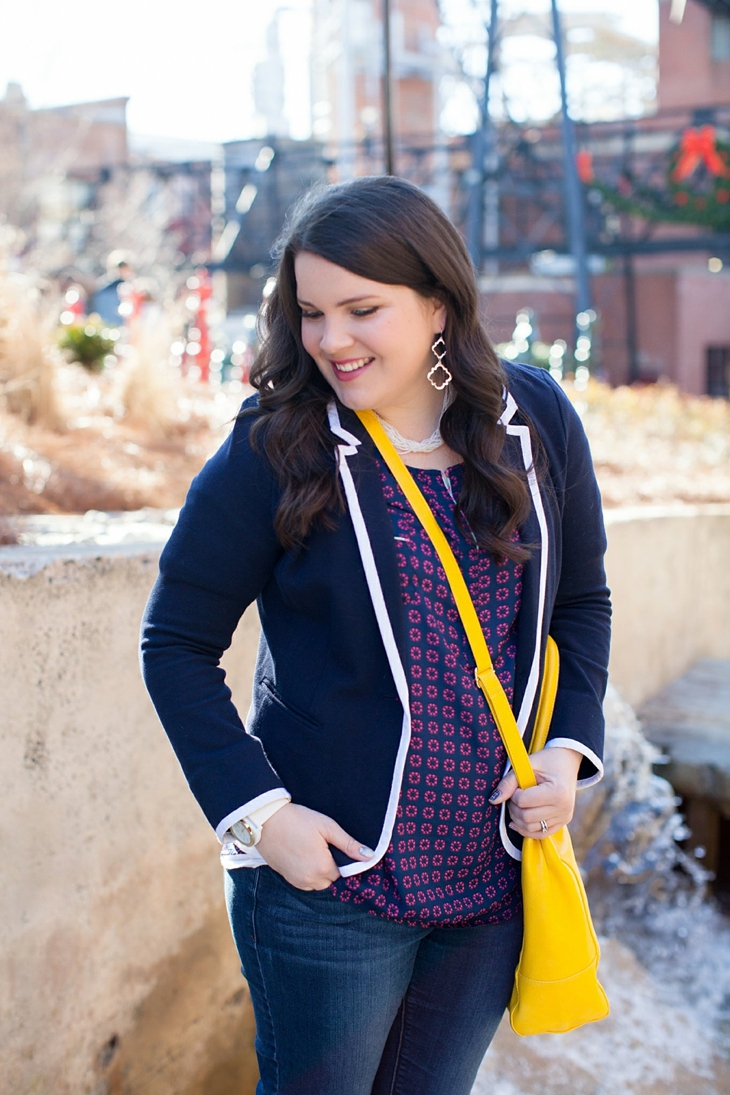 Winter / Fall style | schoolboy blazer, loafers, patterned top, yellow bag| North Carolina Fashion Blogger (6)