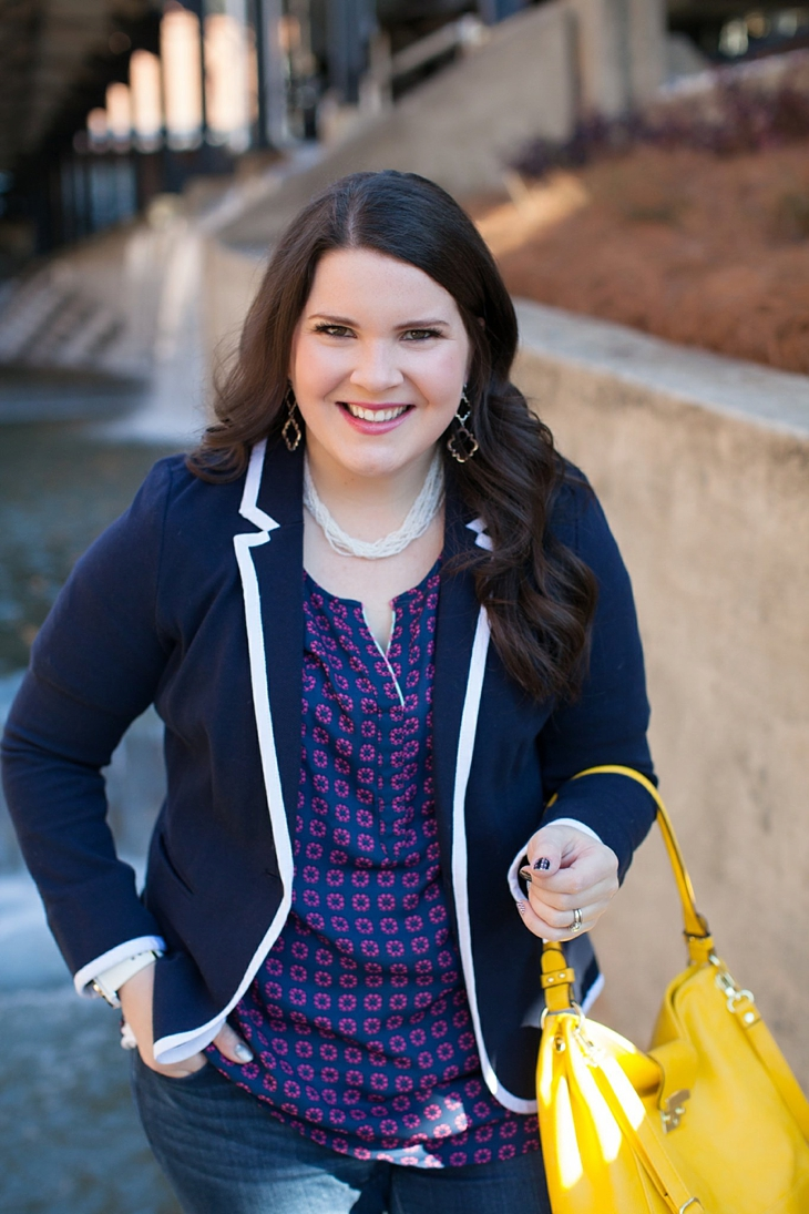 Winter / Fall style | schoolboy blazer, loafers, patterned top, yellow bag| North Carolina Fashion Blogger (8)