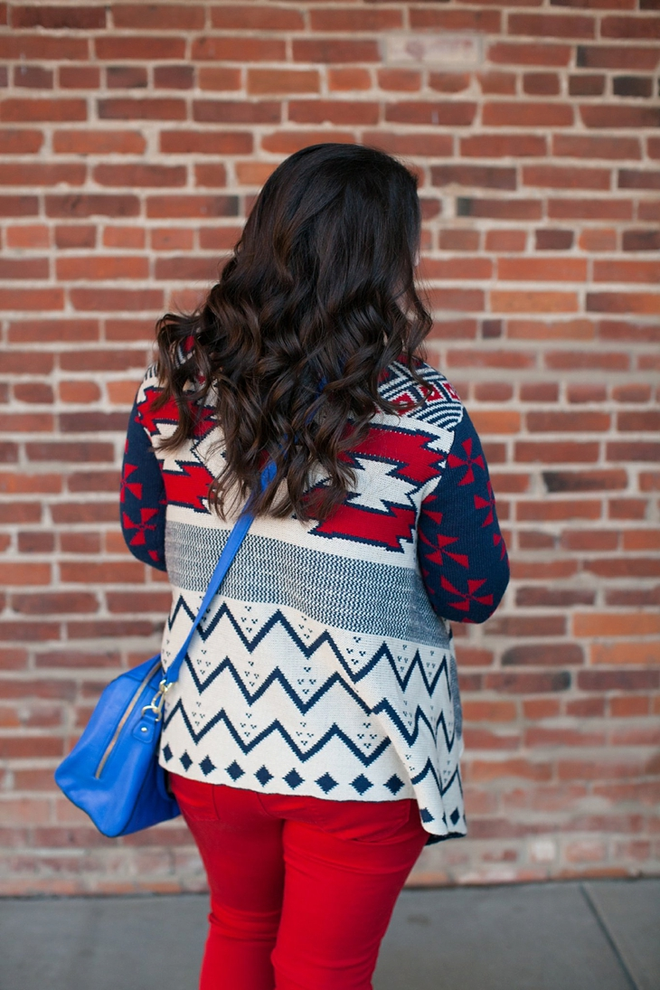 Winter / Fall style | red jeans, blue bag, Root Collective ballet flats, blue and red aztec cardigan, Nickel and Suede earrings | North Carolina Fashion Blogger (3)