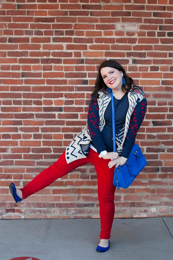 Winter / Fall style | red jeans, blue bag, Root Collective ballet flats, blue and red aztec cardigan, Nickel and Suede earrings | North Carolina Fashion Blogger (6)