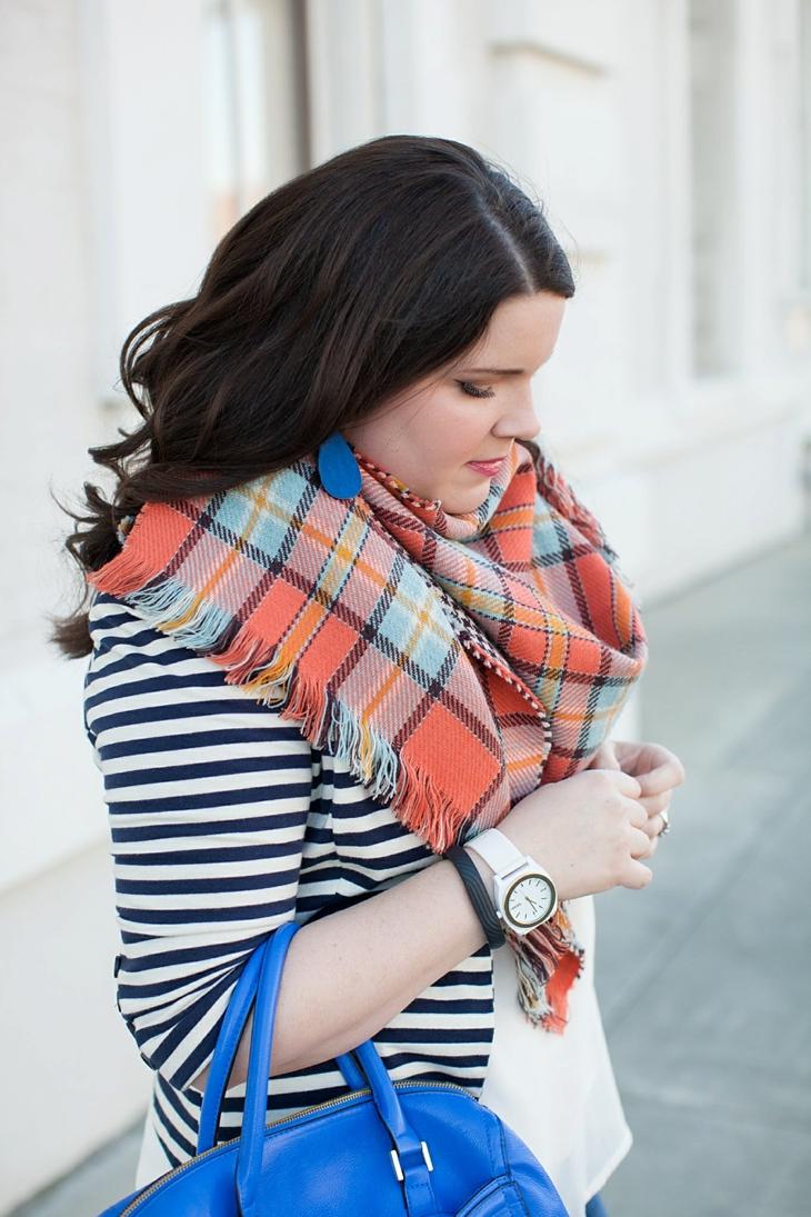Winter / Fall style   striped blazer, blanket scarf, blue bag   North Carolina Fashion Blogger (4)