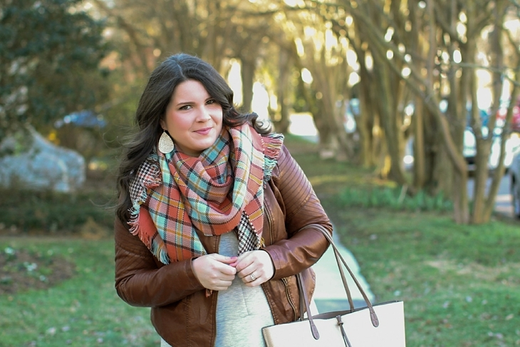 basic gray dress, tights, boots, leather jacket, blanket scarf (3)