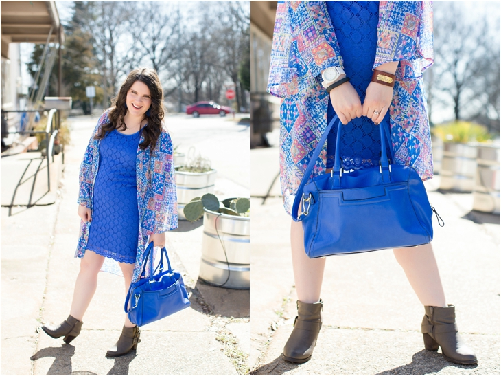 Cobalt blue lace dress, Altar'd State Kimono, Cuff, Cobalt Blue bag, booties, North Carolina Fashion Blogger (4)