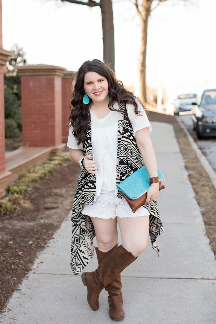 lace shorts, aztec printed vest, brown boots, ooh baby designs foldover clutch, nickel and suede earrings - north carolina fashion blogger (1)
