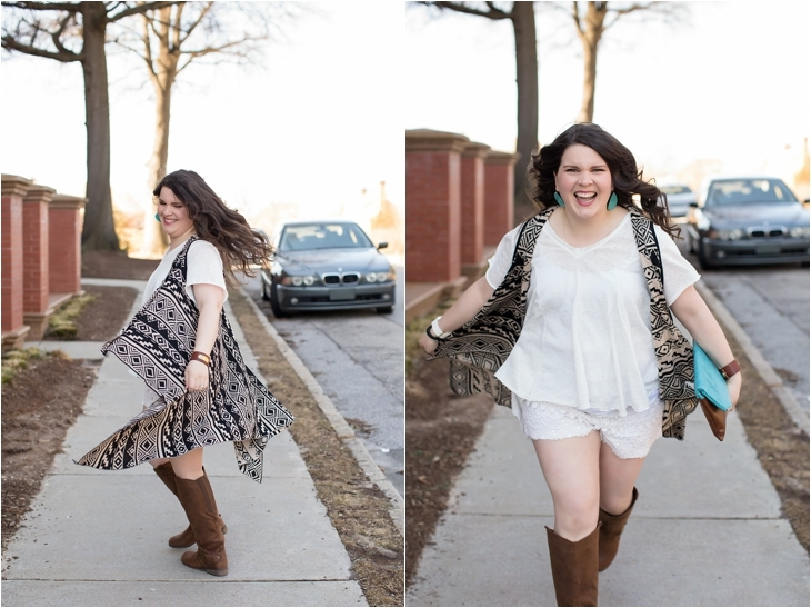lace shorts, aztec printed vest, brown boots, ooh baby designs foldover clutch, nickel and suede earrings - north carolina fashion blogger (6)