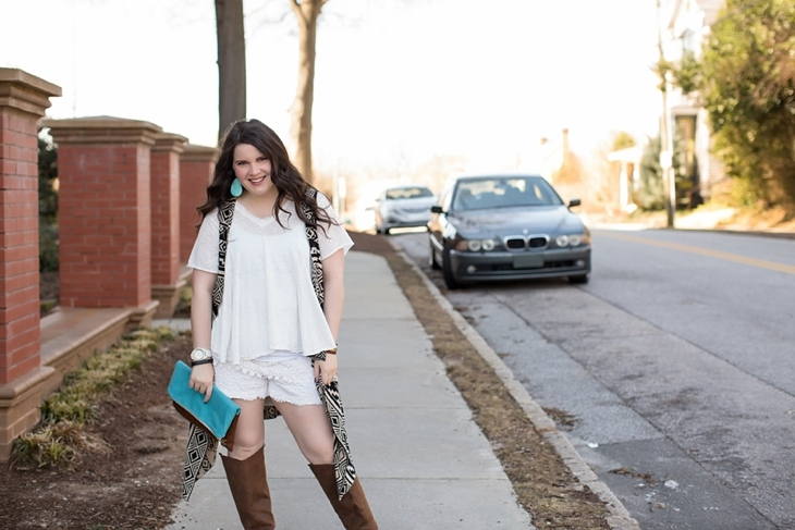 lace shorts, aztec printed vest, brown boots, ooh baby designs foldover clutch, nickel and suede earrings - north carolina fashion blogger (7)