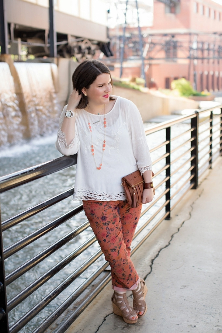 """Stitch Fix Brixon Ivy """"Diaz Embroidery & Crochet Detail Cotton Top"""", Pixley """"Carly Multi-Stone Layering Necklace"""" , Nine West tan wedges from Rack Room Shoes, Stitch Fix Dear John """"Niki Cropped Skinny Jean"""""""