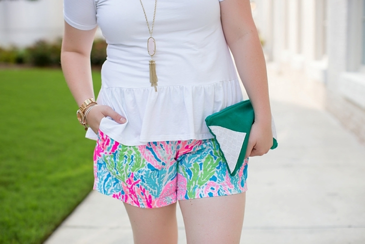 Elegantees Chelsea tee, Lilly Pulitzer Lets Cha Cha Callahan shorts, Root Collective, Nickel and Suede, Kendra Scott (3)