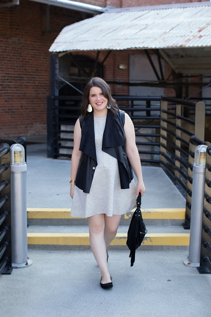 gray dress, leather vest, fringe bag, Root Collective shoes, Nickel and Suede earrings (9)