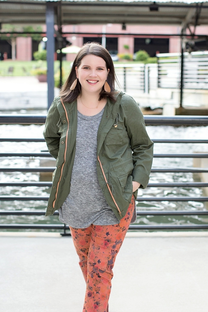 Printed denim, booties, and cargo jacket | Maternity Fashion & Style