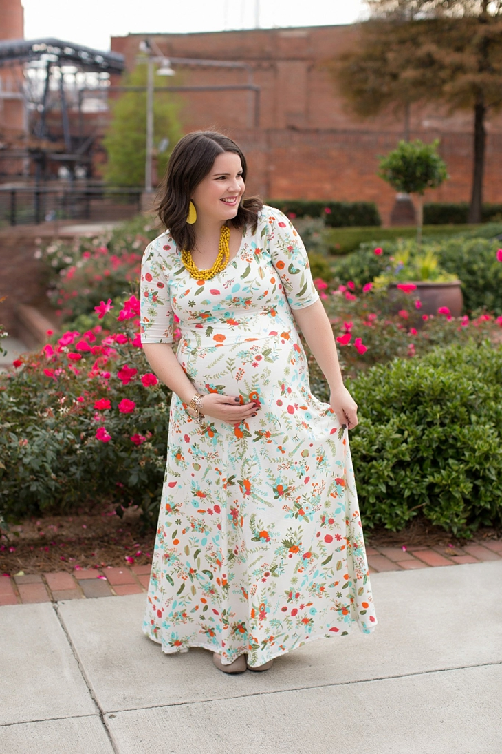 LulaRoe floral Ana dress, yellow accessories, Nickel and Suede earrings, Root Collective shoes, maternity, fall, fashion (1)