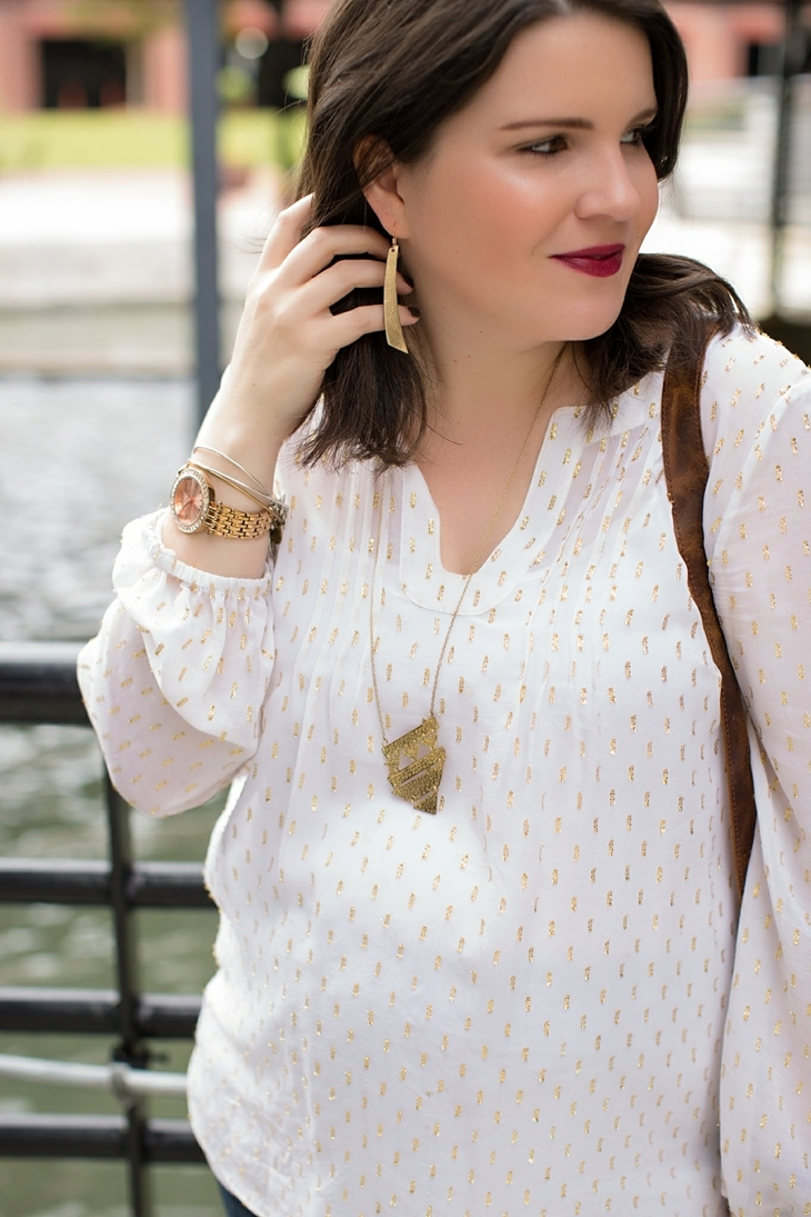 Maternity flare jeans, booties, JOYN bag, Lilly Pulitzer gold and white blouse, Nickel and Suede gold earrings, maternity fashion, style (8)