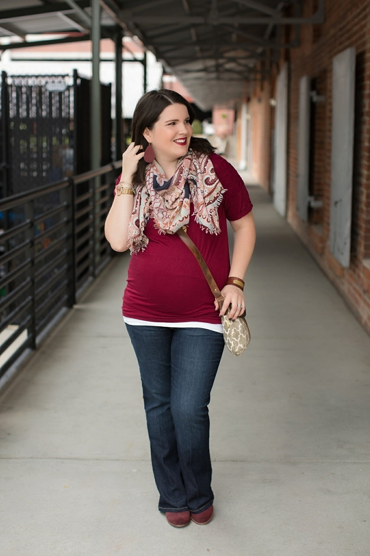 Maternity flare jeans, booties, JOYN bag, scarf, Nickel and Suede marsala earrings, maternity fashion, style (2)