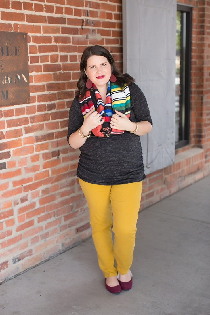 mustard denim, Root Collective flats, Stitch Fix liverpool knit top, Just Dawnelle serape scarf, Nickel and Suede Marsala earrings, maternity fashion (2)