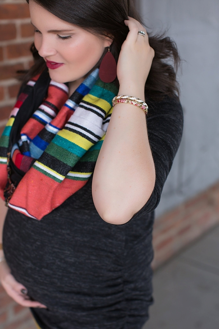 mustard denim, Root Collective flats, Stitch Fix liverpool knit top, Just Dawnelle serape scarf, Nickel and Suede Marsala earrings, maternity fashion (6)