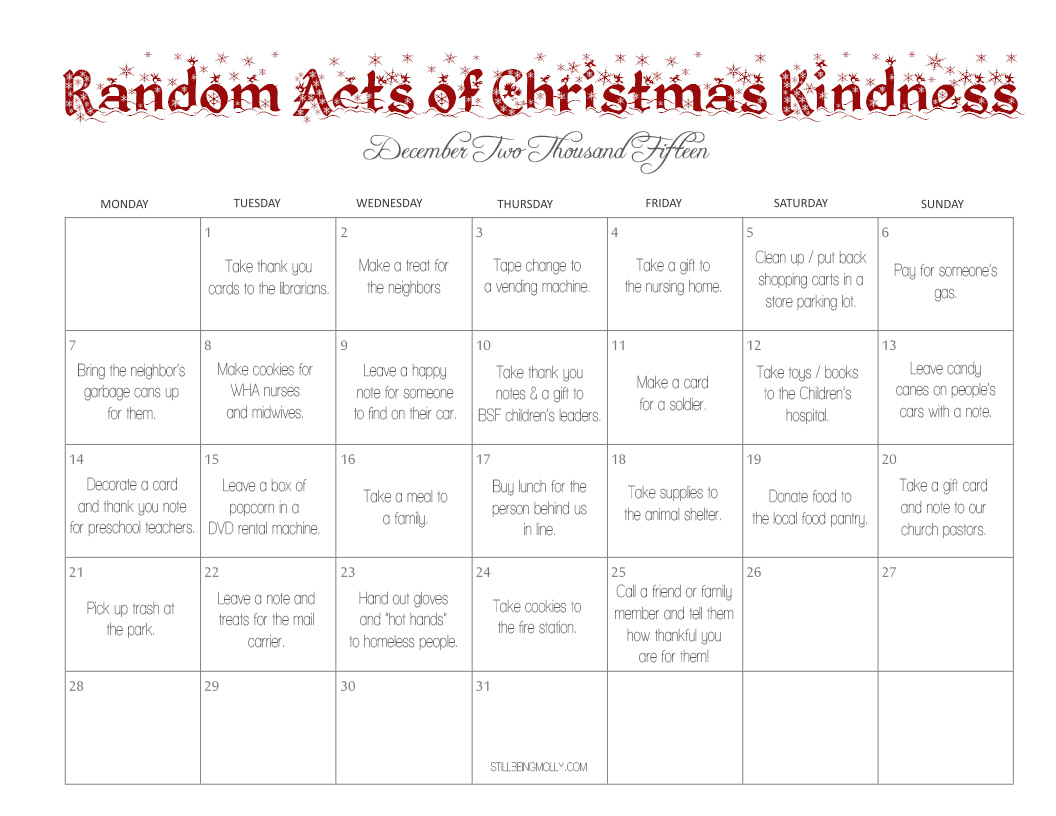 Our 24 Random Acts Of Christmas Kindness A Recap Amp Link Up