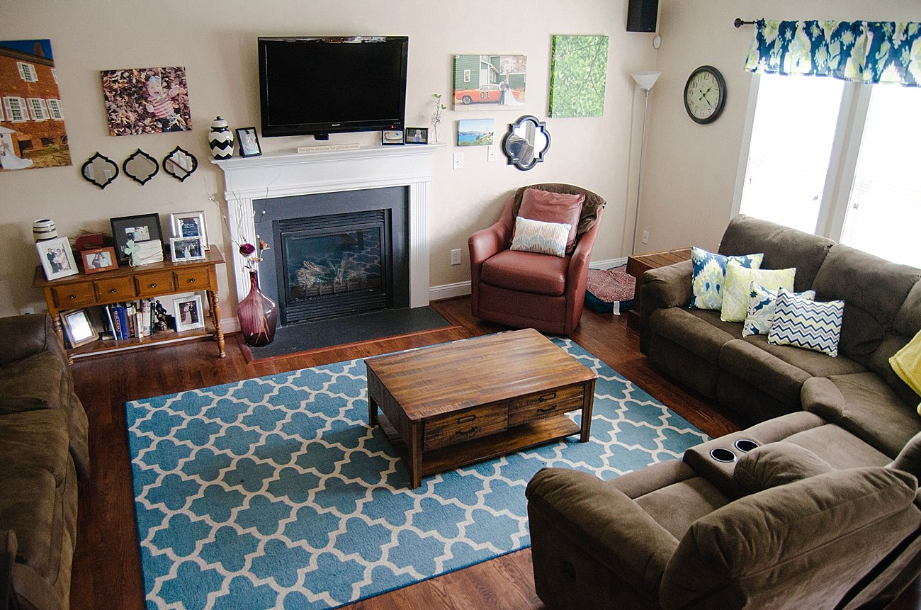 Blue green and brown living room - Blue Green And Brown Ikat Living Room Decor Home Tour 1