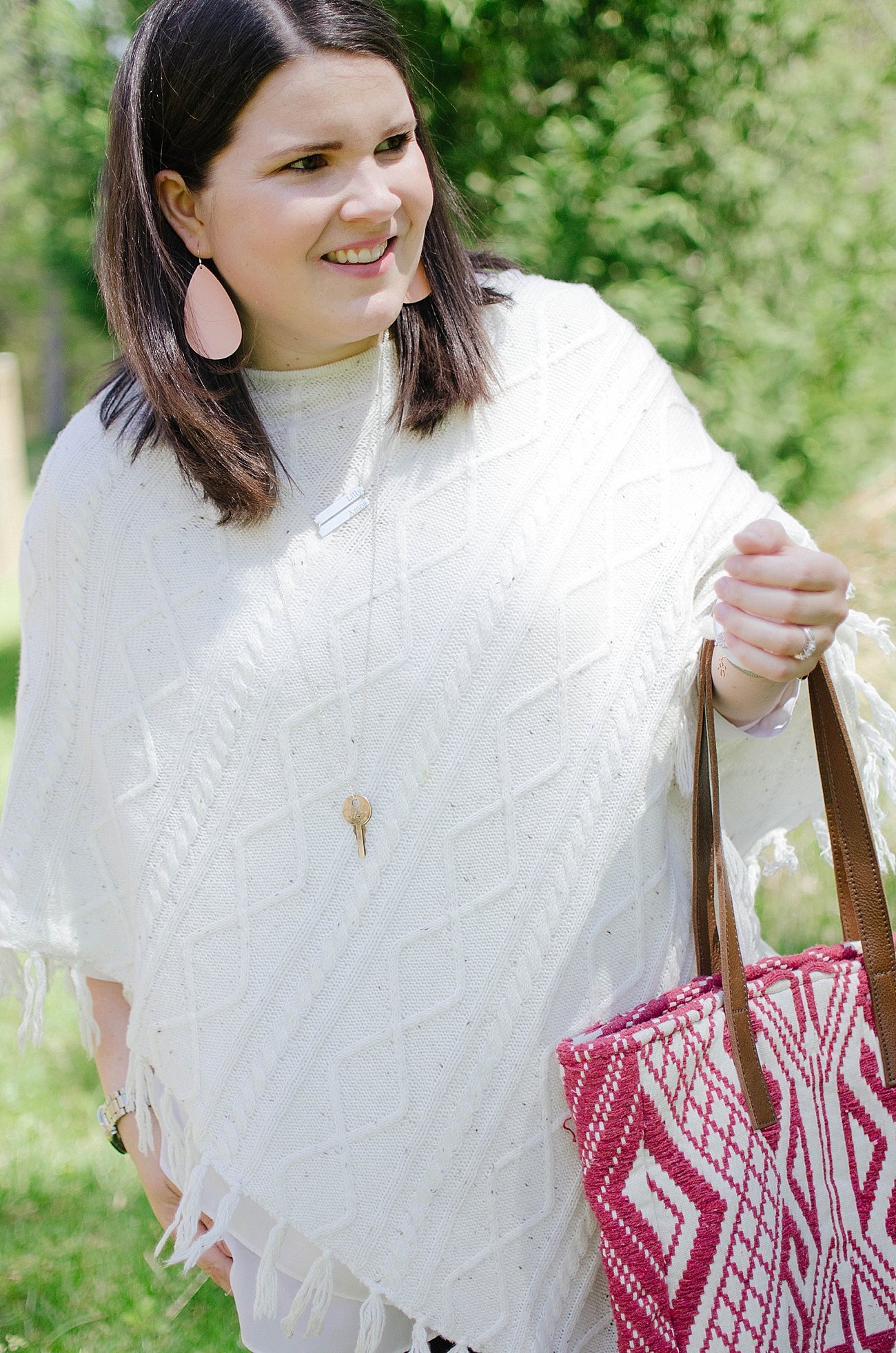 Grace & Lace poncho, Grace & Lace bag, Nickel and Suede earrings, The Root Collective Millie flats, Endless Jewelry bracelets, Wristology Watch | Casual Style - North Carolina Fashion Blogger (2)