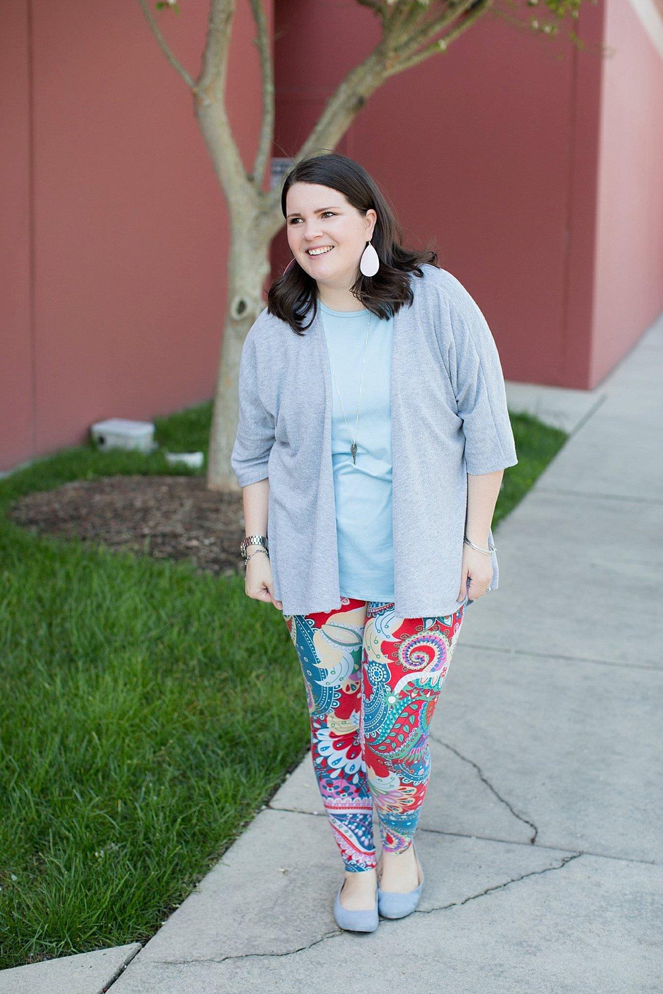 LulaRoe Lindsay Kimono in Grey, Lularoe Irma tunic, Paisley printed LulaRoe leggings, The Root Collective Gaby Ballet Flat, Nickel and Suede Earrings | Mom Style | North Carolina Fashion & Style Blogger (4)